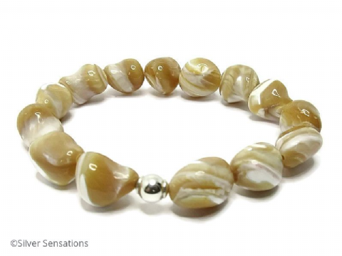 Natural Beige Caramel & Cream Mother of Pearl Nugget Beads & Sterling Silver Bracelet